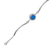 Браслет с голубым ювелирным стеклом и фианитами с жесткими звеньями, серебро