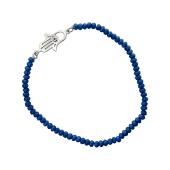 Браслет Хамса с синим хрусталем на резинке, серебро