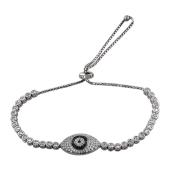 Браслет змейка Глаз с черными и прозрачными фианитами, серебро