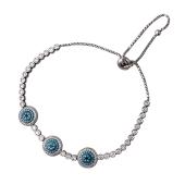 Браслет змейка с голубыми фианитами, серебро