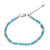 Браслет с голубым хрустальными стеклярусом, серебро