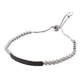 Браслет змейка с чёрными и прозрачными фианитами, серебро