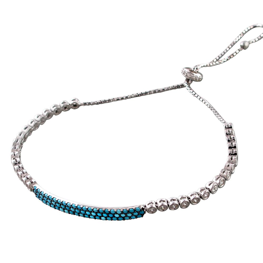 Браслет змейка с бирюзовыми и прозрачными фианитами, серебро