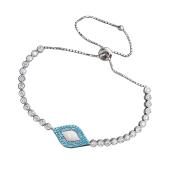 Браслет змейка Глаз с белой эмалью, голубыми и прозрачными фианитами, серебро