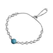 Браслет Шарик с голубыми и прозрачными фианитами из серебра