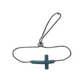 Браслет Крест с голубыми фианитами из серебра с регулируемым размером