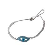 Браслет Левый Глаз с голубыми и прозрачными фианитами из серебра