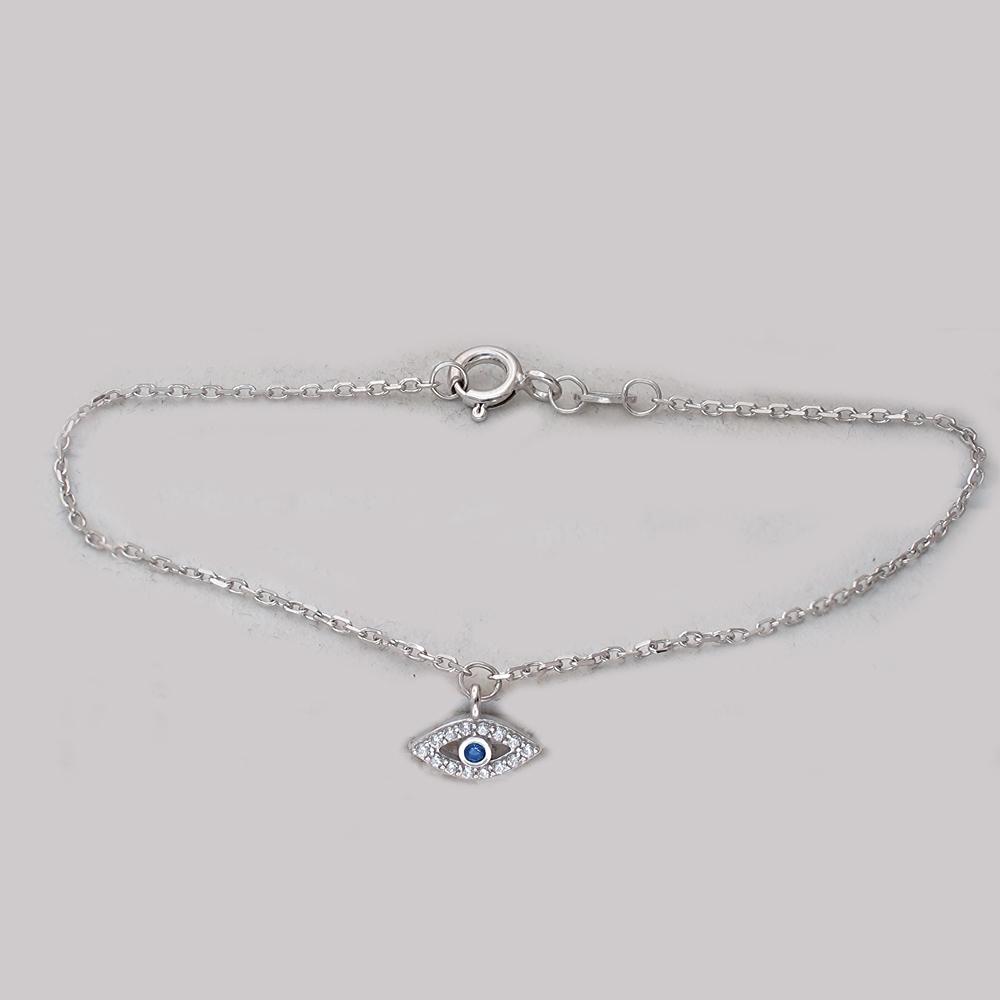 Браслет амулет Глаз с синей шпинелью и фианитами, серебро