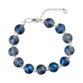 Браслет с синим хрусталем из серебра