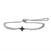 Браслет Крест с черными фианитами из серебра