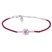 Браслет на красной нити Роза с рубиновым фианитом, серебро