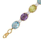 Золотой браслет с полудрагоценным камнем, овальная форма, чередование с фианитом