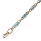Золотой браслет с полудрагоценной вставкой, двойные треугольные вставки