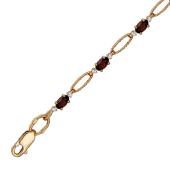 Браслет с фианитами и полудрагами (аметист/топаз/гранат/хризолит), красное золото