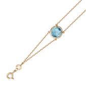 Золотой браслет с полудрагоценной вставкой, круглой формы, фантазийной огранки