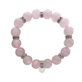 Браслет Сердечки с натуральным розовым кварцем и серебром