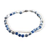 Браслет Звездочки с жемчугом и синим агатом, серебро
