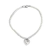 Браслет с белым жемчугом и сердцем из серебра 925 пробы