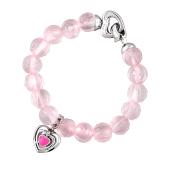 Браслет Чистое Сердце с розовым кварцем с подвеской сердце и розовым фианитом, серебро