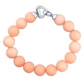 Браслет Карамель с шариками кварца цвета персик и серебряным сердечком