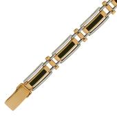 Браслет мужской Ролекс с ониксом, комбинированное золото 8 мм