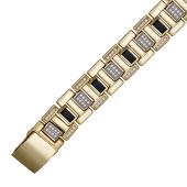Браслет Ролекс с ониксами и фианитами, желтое и белое золото