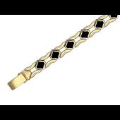 Браслет Ролекс с ромбовидным ониксом, красное и белое золото