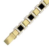 Браслет Ролекс с квадратным ониксом, желтое и белое золото