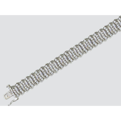 Браслет Волны с изумрудами и сапфирами, белое золото 750 проба
