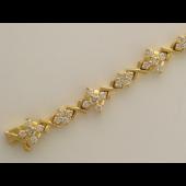 Браслет Ромбы с бриллиантами, желтое золото 750 проба