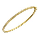 Браслет-обруч с бриллиантами, желтое золото 750 проба