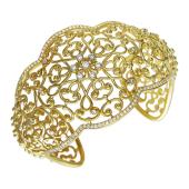 Браслет ажурный широкий с бриллиантами, желтое золото
