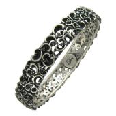 Браслет Белая Тень с чёрными бриллиантами, серебро