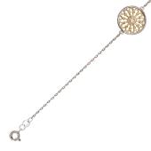 Браслет с круглой ажурной вставкой, бриллианты, желтое и белое золото