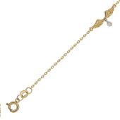 Браслет Крылья Ангела с бриллиантом, желтое и белое золото
