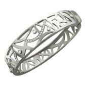 Браслет-обруч ажурный с бриллиантами, белое золото 750 проба