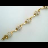 Браслет Цветы с бриллиантами, комбинированное золото