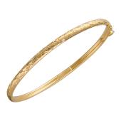 Браслет-обруч с насечками ромбы, красное золото, 585 пробы 4мм