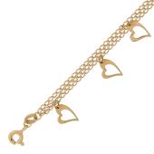 Браслет три нитки якорной цепи и сердечки, красное золото 585 пробы