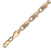 Браслет Ролекс, звенья-восьмерки, алмазная огранка, родирование, красное золото 5мм