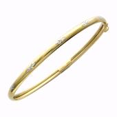 Браслет-обруч с алмазной огранкой, желтое золото