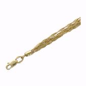 Браслет широкий, плетение Сингапур, желтое золото