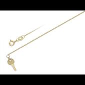 Браслет на ногу желтое золото с подвеской золотой ключик