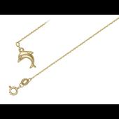 Браслет якорный с дельфином, желтое золото