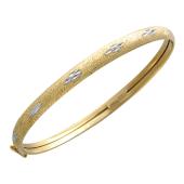 Браслет-обруч, алмазная грань, матирование, жёлтое золото, 585 пробы 6мм