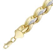 Браслет Ролекс, волна, алмазная огранка, родирование, желтое золото 9мм