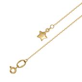 Браслет Звезда на ногу на тонкой якорной цепи из желтого золота
