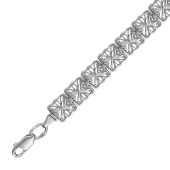 Браслет Квадраты с алмазной обработкой из серебра 925 пробы