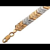 Браслет Ёлочка с алмазной огранкой, комбинированное золото 8мм
