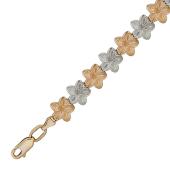 Браслет Цветы с алмазной огранкой, комбинированное золото 9мм